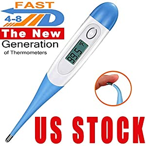 Digital Thermometer, Soft Head Large Face LCD Fast Reading Thermometer ,Oral Thermometer | Waterproof Medical Thermometer for Adults and Children