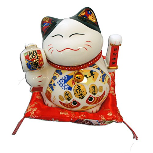 Maneki Neko Feng Shui Chinese Lucky Cat Figurine Decoration (White)