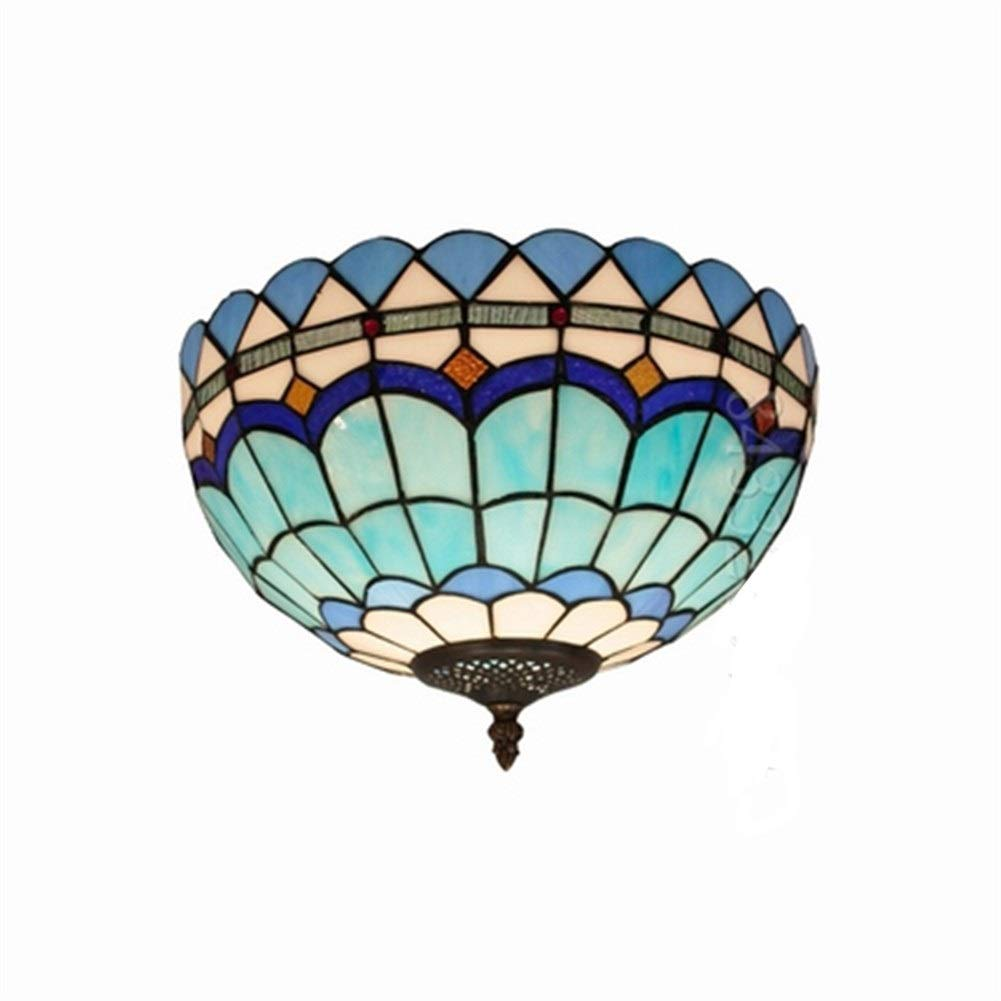 Soft Lighting Handmade 12inch Art Lights,Home Decorative Tiffany Style Floral Ceiling Lamps Stained Glass Handmade