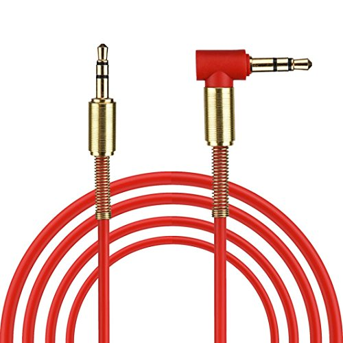 Gotd 3.28ft/1M 3.5mm Jack Audio Cable Male To Male 90 Degree Right Angle Aux Cable (Red)
