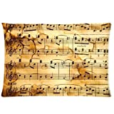 Music Notation Pattern Custom Zippered Pillowcase Pillow Cases Cover Home Decorative 20 * 30 Inch (One side)