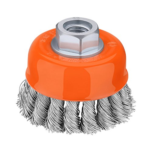 Tacklife PKCB1 3-Inch by 5/8-Inch-11 Knotted Cup Brush 14,000 RPM Wire Wheels - Premium Carbon Steel .020-Inch for Heavy Material Removal - Passed Strict Dynamic Balance Test