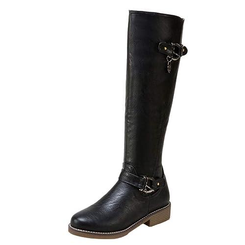 Winterstiefel Mit Aiyoumei Flache Schnallen Stiefel Boots Y6fygb7v