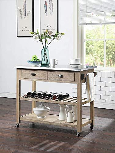 4D Concepts ALEX kitchen cart, Acacia and Metal