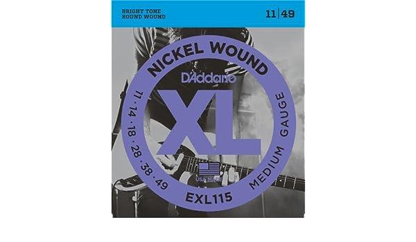 Amazon.com: CUERDAS GUITARRA ELECTRICA - D´addario (EXL/115) Blues/Jazz Rock (Juego Completo 011/049): Musical Instruments