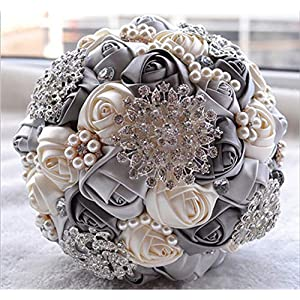 Balalei White Bridal Wedding Bouquet de Mariage Pearls Bridesmaid Artificial Wedding Bouquets Flower Crystal buque de Noiva 2019,Color 14