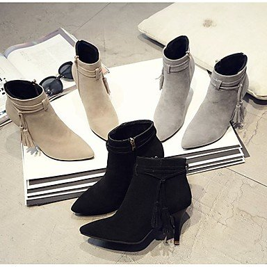 Tassel Kitten Mid Women'S Winter Boots CN39 Boots For Toe Pointed Combat EU39 Zipper Boots RTRY Beige UK6 Shoes Gray Heel Fall US8 Casual Calf Pu Black 7qxaw8