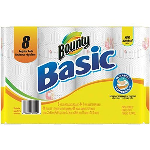 Bounty Basic Paper Towels, Prints, Regular Roll - 8 pk by Bounty