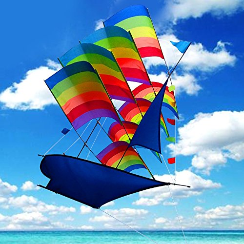 Tresbro Sailing Ship Kite Flying for Beach, 3D Cool Big Chinese Kites for Kids and Adults, Outdoor Games and Activities for Fun and (Rainbow Ship Kite)