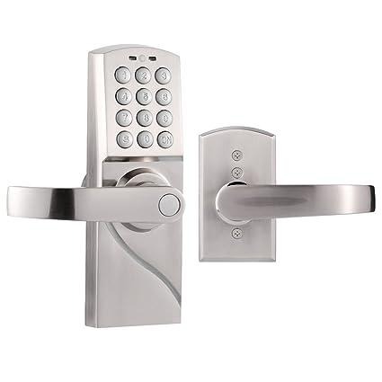 Homgeek - Cerradura de Puerta Inteligente con Alarma (Contraseñas de Maestro+Invitados) -