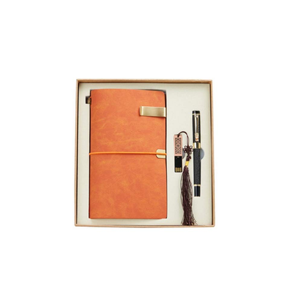 WUZHONGDIAN Notebook Magazine, Retro Simulation Leather Hand Book, Page Divider Gift, Diary Record Note Diary and Plan - Gift Box / 50 Sheets Office Supplies ( Color : Orange )