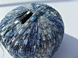 Knitting Fever Dazzle Metallic Ladder Yarn New Color 3 Sky, Blue, Silver