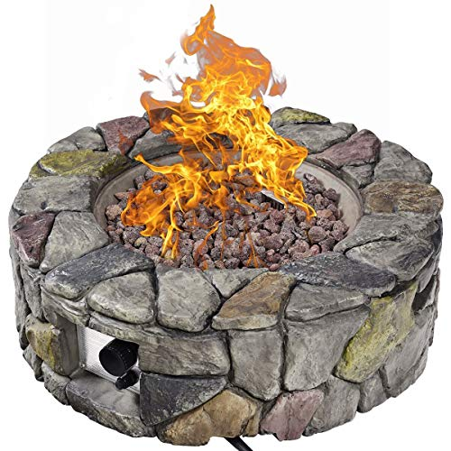 VeenShop Winter Every Home Must Have Patio Table Fireplace Heater Outdoor 40,000 BTUs Stone 28'' Propane Gas Fire Pit Finish Lava Rocks Cover Enjoy Camping Warmer 28' Patio Heater Cover