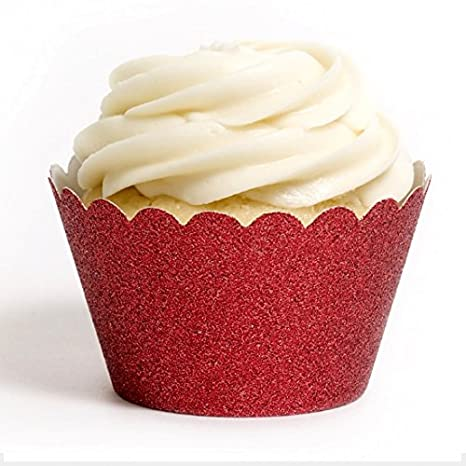 Dress My Cupcake Standard Reusable Glitter Cupcake Wrappers Set Of 50 Red