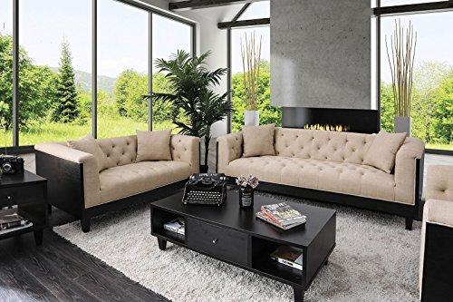 Esofastore Classic Tuxedo Style 2pc Sofa Set Tufted Sofa Loveseat Living Room Furniture Flared Arms Beige Linen Like Fabric
