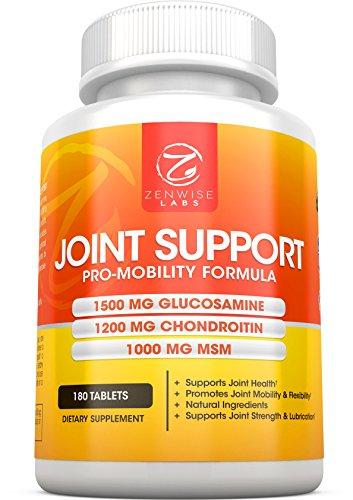 Conjoint soutien supplément - complexe avec 1500mg de Glucosamine, 1200mg Chondroitin, 1000 MG MSM & acide hyaluronique d'allégement avancé - mobilité Health Supplement pour les douleurs, courbatures, douleurs & Inflammation - 180 comprimés