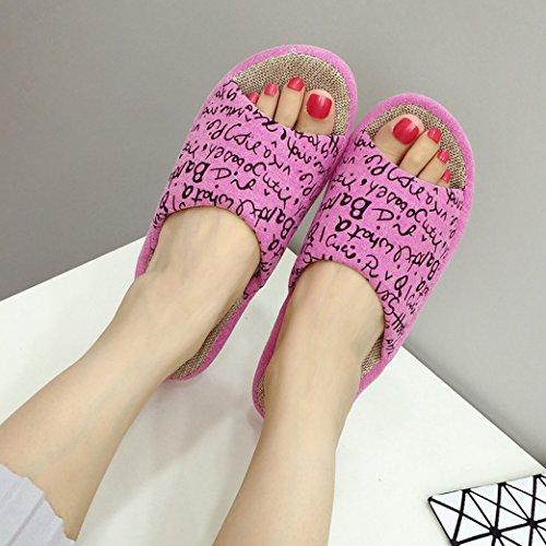 Blubi Donna Lettere Open Toe Pantofole Di Lino Casa Comode Pantofole Da Letto Rosa