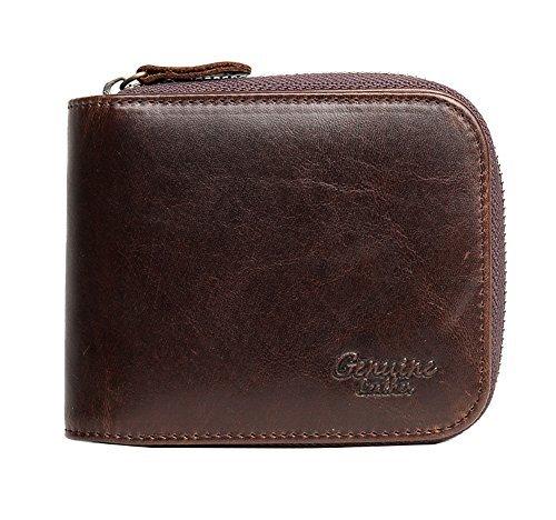Genda 2Archer Mens Leather Bifold Wallet Zip Around Purse (Coffee)