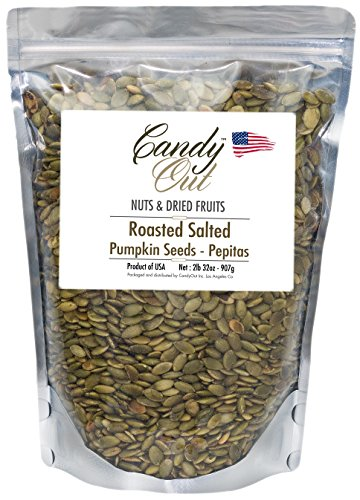 CandyOut Shelled Pumpkin Seeds 2 Pound Roasted Salted Pepitas