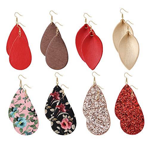 JOERICA 8-12 Pairs Leather Earrings for Women Girls Teardrop Leaf Dangle Drop Earrings Lightweight Petal Leopard Earrings Set - Heart Leather Earrings