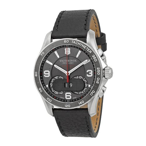Victorinox-Unisex-241616-Chrono-Classic-Stainless-Steel-Watch-with-Black-Leather-Band