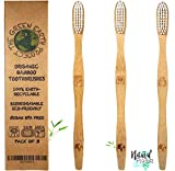 numbered makeup brushes - Organic Bamboo Toothbrushes Eco-Friendly Biodegradable Natural and Sustainable Premium Wooden Toothbrush – Pack of 3 - Medium Soft / Firm BPA/PVC FREE Bristles for Adults with Sensitive Gums  BONUS