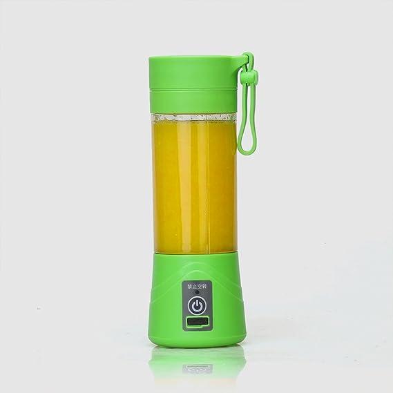 Compra TOOGOO 380ml Vaso botella de licuadora recargable USB Batidora de citricos de jugo Exprimidores de batido de leche fruta verduras limon Botella de exprimideras: Verde en Amazon.es