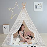 LoveTree Canvas Teepee Canopy Tent Teepee Playhouse Play- Lace Style-Preassemble-Beige