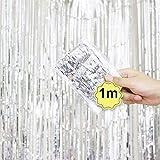 Dreamyth Foil Fringe Curtain, 1 Pack Black Tinsel Foil Fringe Photo Backdrop for Birthday Party Wedding Decor (White, 1mx1m)