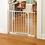 North States 38.5' Wide Easy-Close Baby Gate: The Multi-Directional Swing gate with Triple Locking System - Ideal for doorways or Between Rooms. Pressure Mount. Fits 28'-38.5' Wide (29' Tall, White)