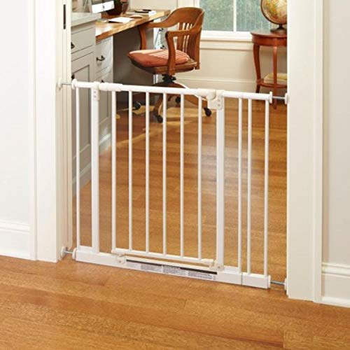 "North States 38.5"" Wide Easy-Close Baby Gate: The Multi-Directional Swing gate with Triple Locking System - Ideal for doorways or Between Rooms. Pressure Mount. Fits 28""-38.5"" Wide (29"" Tall, White)"