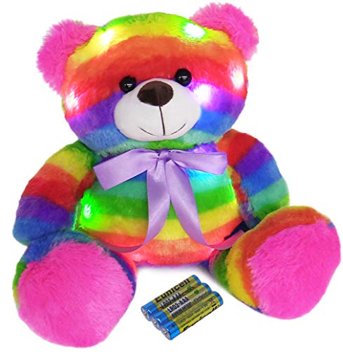 The Noodley 14 inch LED Light Up Rainbow Teddy Bear with Timer Batteries Included Colorful Stuffed Animal Night Light Kids Gift and Birthday Present Gifts for Girls Age 3 4 5 6 Years Old]()