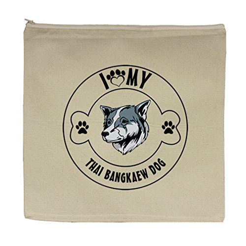Canvas Zipper Pouch 5.5''X7.5'' I Love Paw My Thai Bangkaew Dogdog Style In Print by Style in Print
