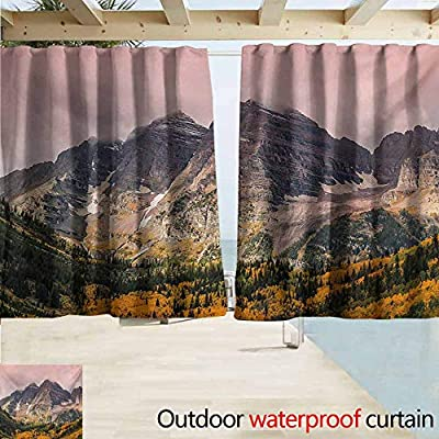 Print Customized Curtains,Fall Idyllic Mountain with Snowy Peaks and Hazy Clouds in The Sky on The High Valley Print,Privacy Assured Window Treatment, Multicolor