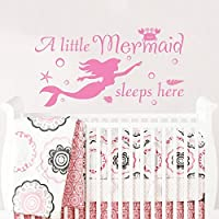A Little Mermaid Sleeps Here Wall Decal. Wall Vinyl Sticker Decals For Girls  Wall Decor
