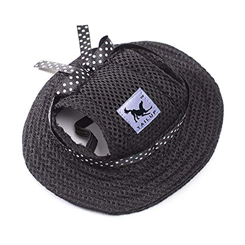 Leson Baseball Caps Hats with Neck Strap Adjustable Comfortable Ear Holes for Small Medium and Large Dogs in Ourdoor Sun Protection (M, Black Princess)