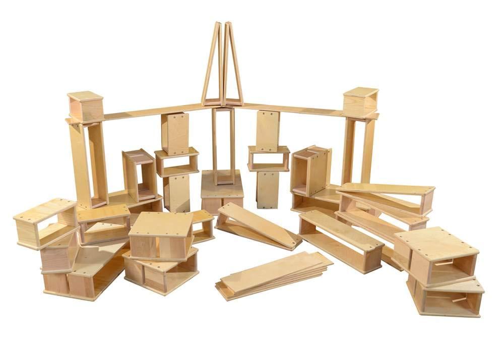 40-Pc Hollow Wooden Block