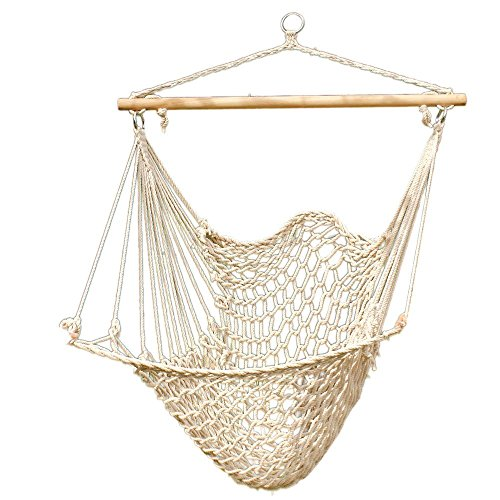 Leadzm Hanging Rope Hammock Chair, Large Brazilian Hammock Net Chair Porch Chair Swing Seat for Indoor Outdoor Patio Lawn Garden Backyard - Max. 330 Lbs (Beige) by LEADZM