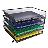 DESIGNA Mesh Collection 4-Tier Desk Tray & Letter Tray, Black (Each Pack Size: 14.4'' x 10.6'' x 2.6'')