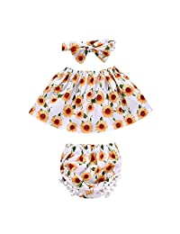 ggudd Baby Girls' Tub Tops Headband Sunflower Printed 3 Pieces Shorts Sets