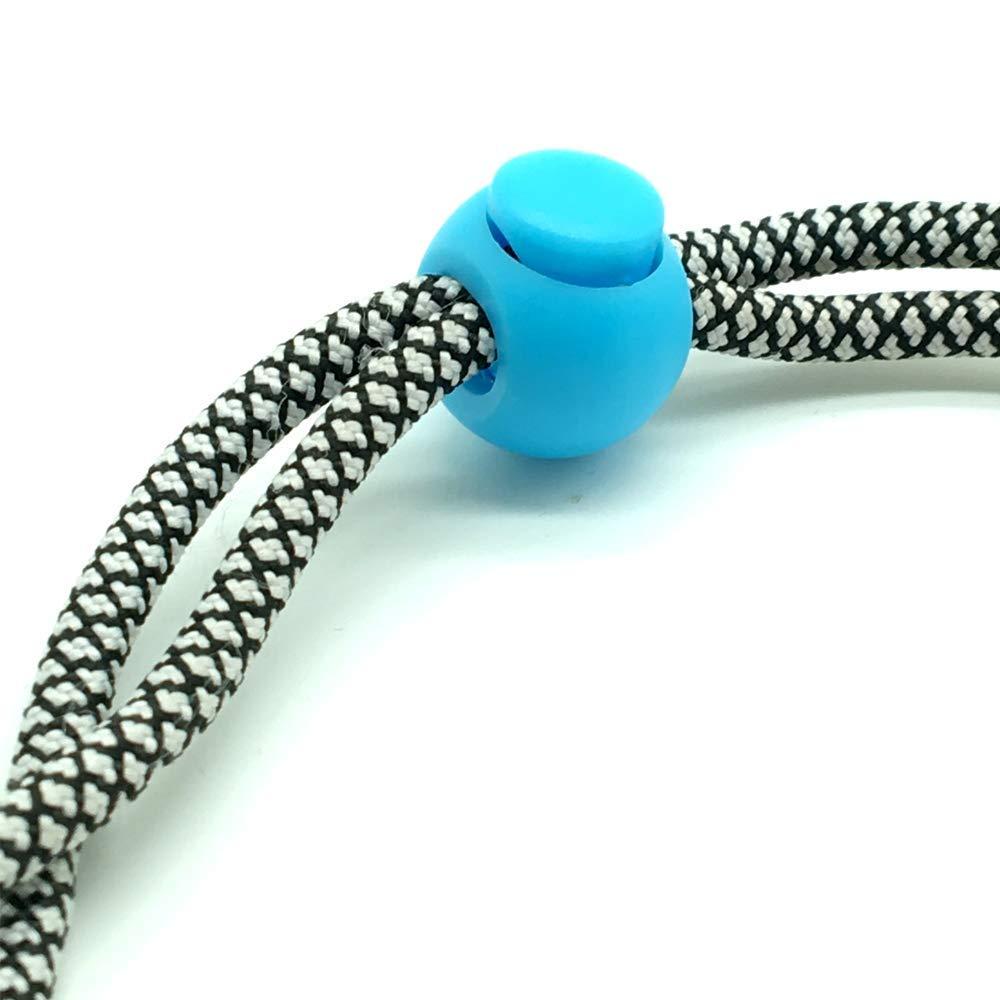 ACKLLR 60 Pcs Plastic Cord Locks Single Hole End Spring Toggle Stopper Slider for Drawstring Backpack Rucksack Craft Supplies 6 Colors,Round Ball Shape