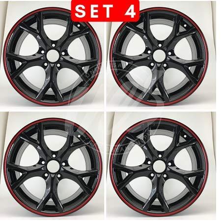 NEW 18 Inch x 8 Wheels Rims 5 lug Black With Red Lip compatible with Honda Accord Honda Civic SI Set of 4