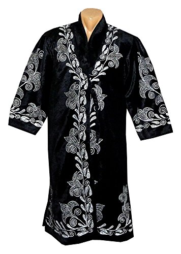 STUNNING UZBEK SILVER SILK EMBROIDERED ROBE CHAPAN FROM BUKHARA A8739 by East treasures