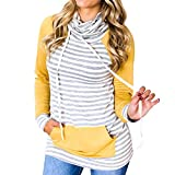 HOT SALE,Napoo Women Striped Patchwork Pocket Pile Collar Long Sleeve Sweatshirt Pullovers (S=(US XS), Yellow)