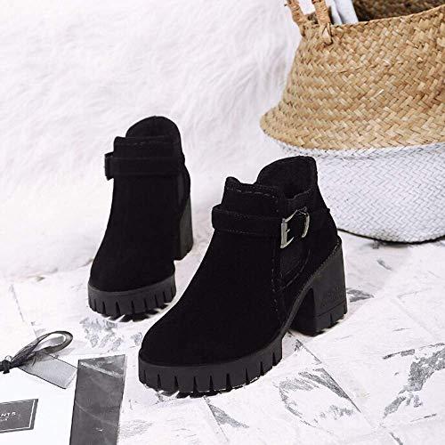 Zhrui femmes en bottes talon moyen avec daim carré chaussures à bout noir et rond féminin sport lanière cuir pour xgx1w8n