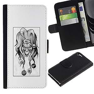 All Phone Most Case / Oferta Especial Cáscara Funda de cuero Monedero Cubierta de proteccion Caso / Wallet Case for Apple Iphone 5 / 5S // Evil Joker B&W