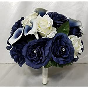 Navy Blue Ivory Rhinestone Rose Calla Lily Bridal Wedding Bouquet & Boutonniere 48