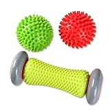 AOXIANG Foot Massage Roller Spiky Ball Foot Pain Relief Massager Relieve Plantar Fasciitis and Heel Foot Arch Pain and Relax Shoulder Foot Back Leg Hand, Included 1 Roller & 2 Spiky Balls(Color Random)