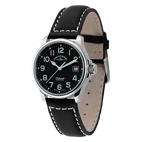 Zeno Basic Pilot Black Dial Leather Strap Men's Watch 12836-A1