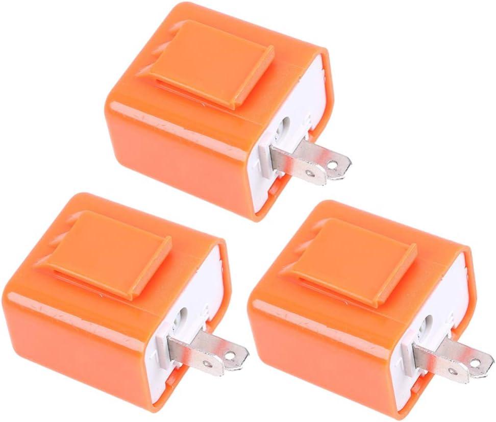 Arancione LIOOBO 3 Pz 2 Pin 12 V Moto Led Indicatore di Direzione Lampeggiatore Rel/è Velocit/à Regolabile Indicatore per Moto Moto
